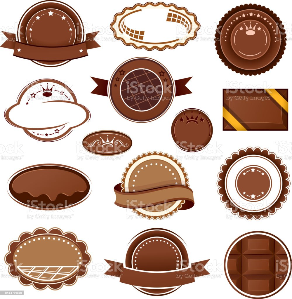 Сhocolate badges and labels royalty-free stock vector art