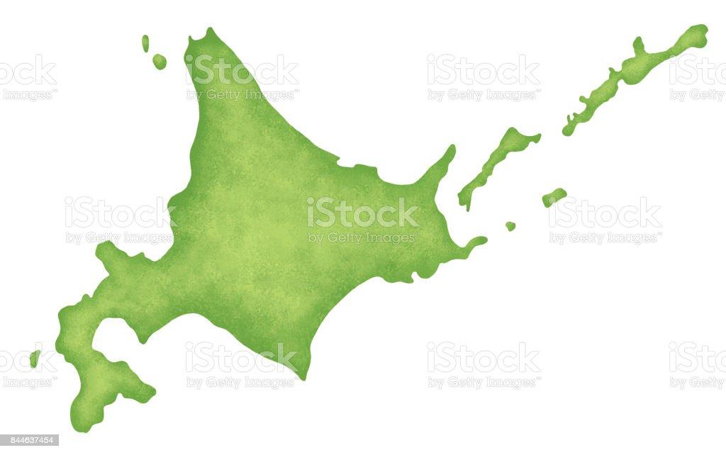 Hokkaido map vector art illustration