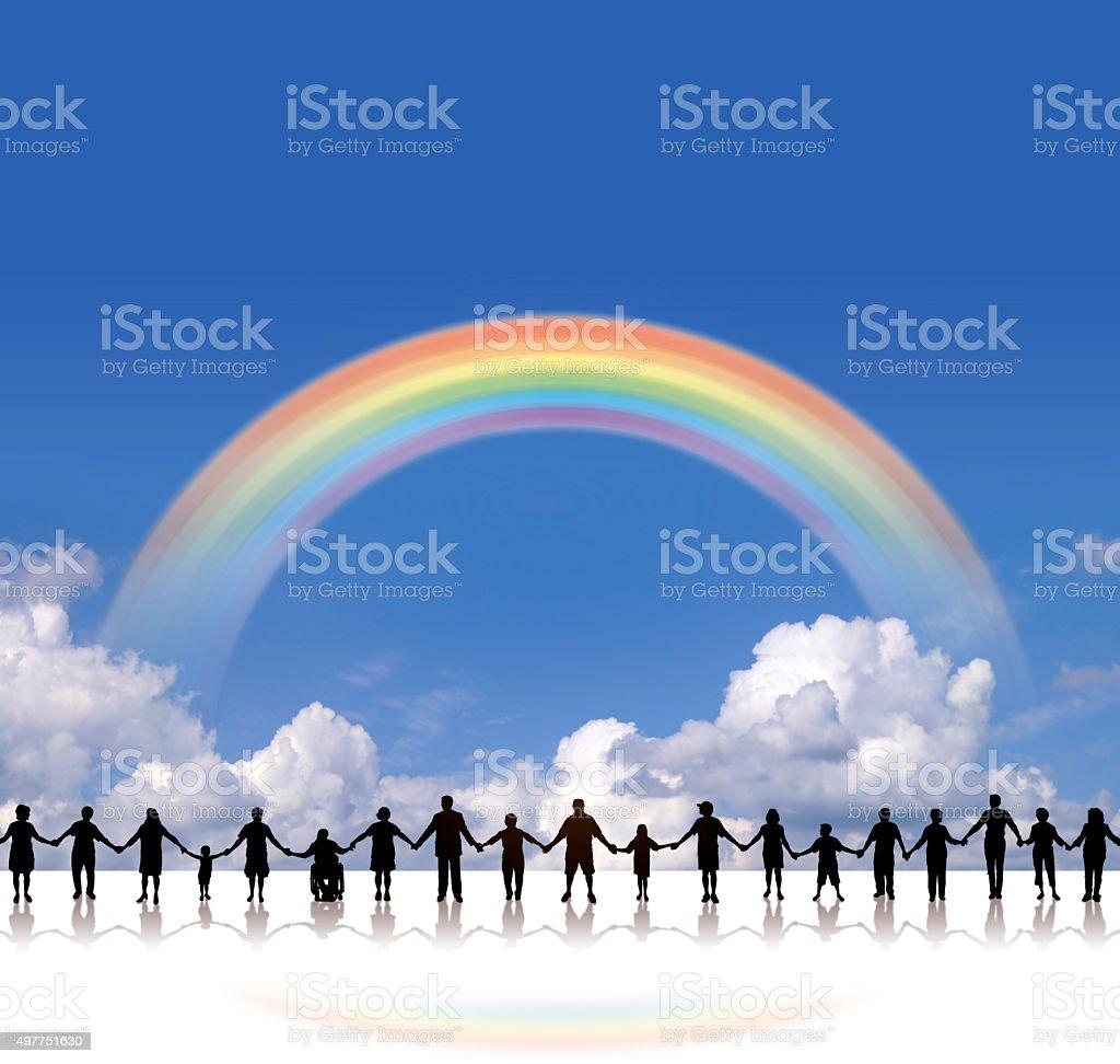 Holding Hands - United Community Rainbow Background vector art illustration