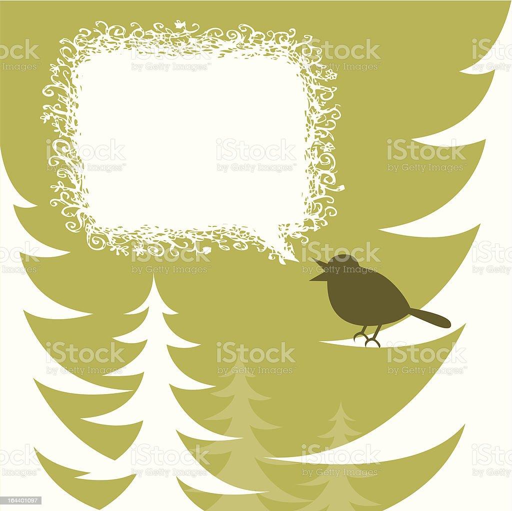 Holiday Bird Green vector art illustration