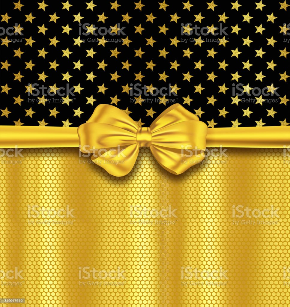 Holiday glitter gold stars with ribbon and bow vector art illustration