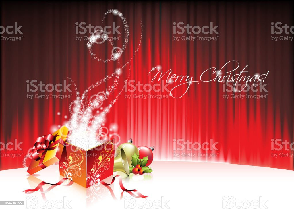 Holiday illustration on a Christmas theme with magic gift box. royalty-free stock vector art