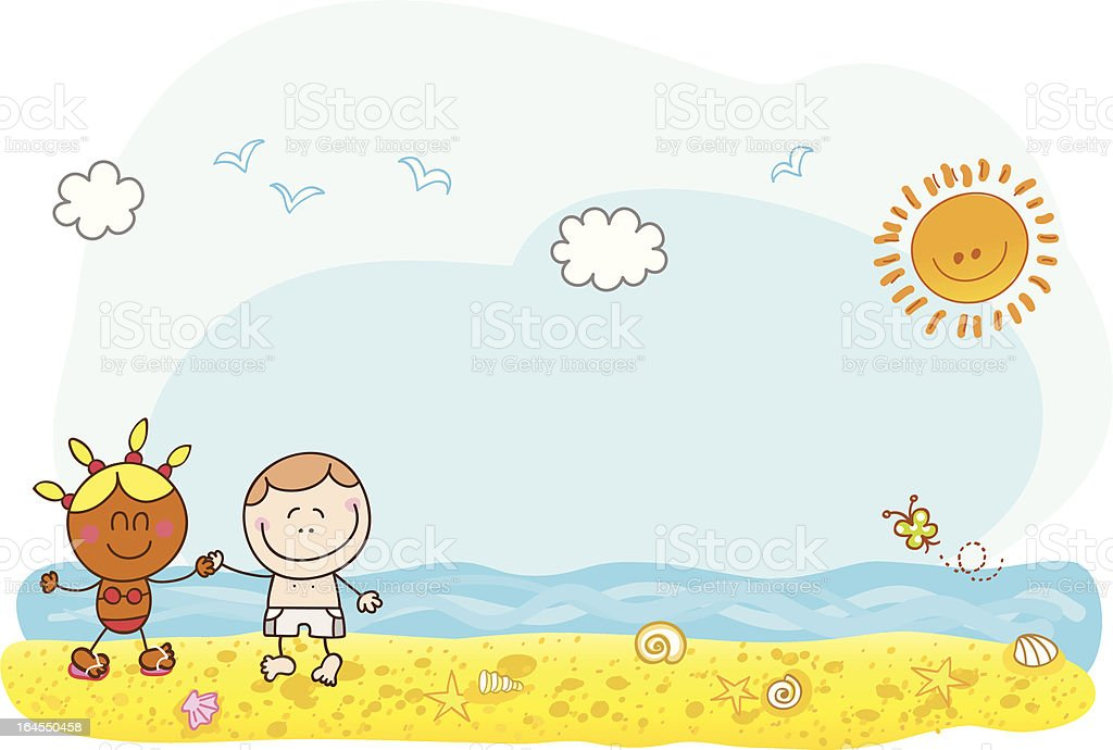 holiday kids holding hands at summer beach royalty-free stock vector art