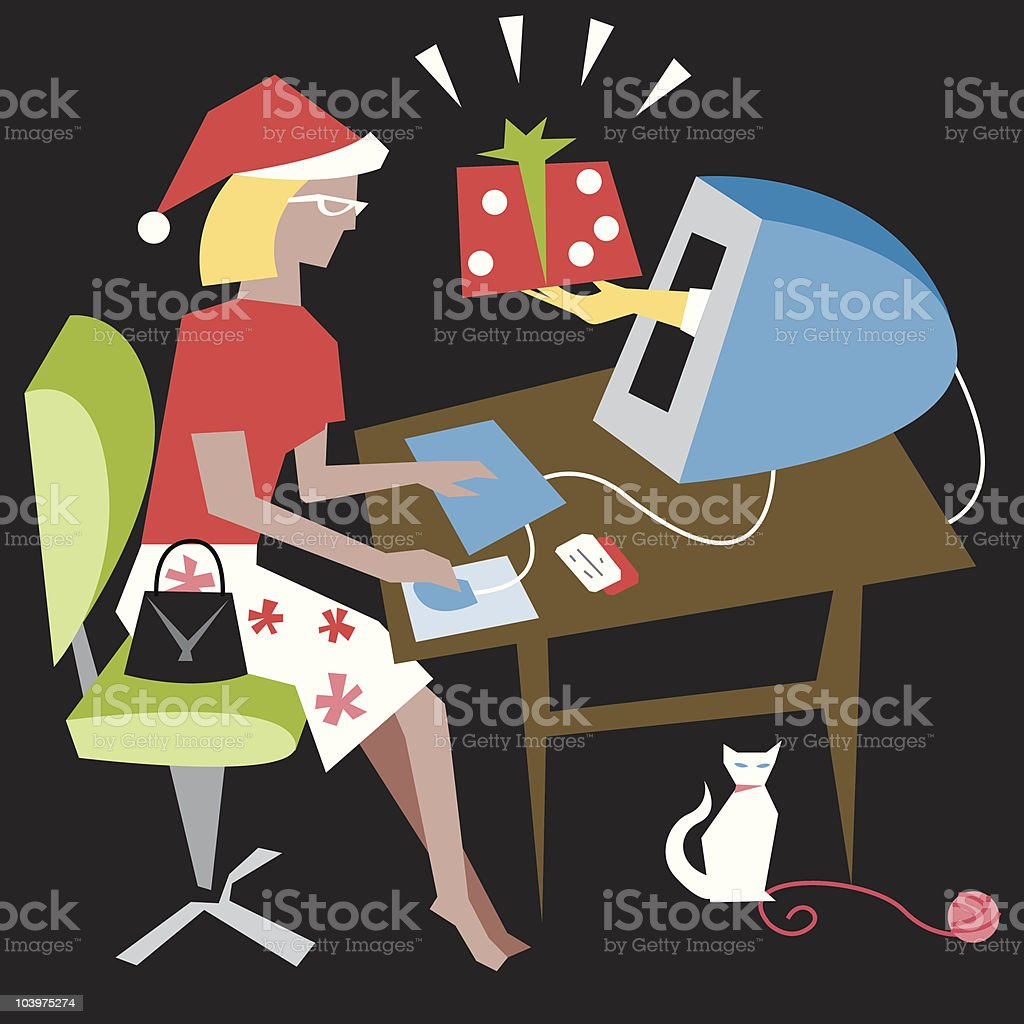 Holiday shopping vector art illustration