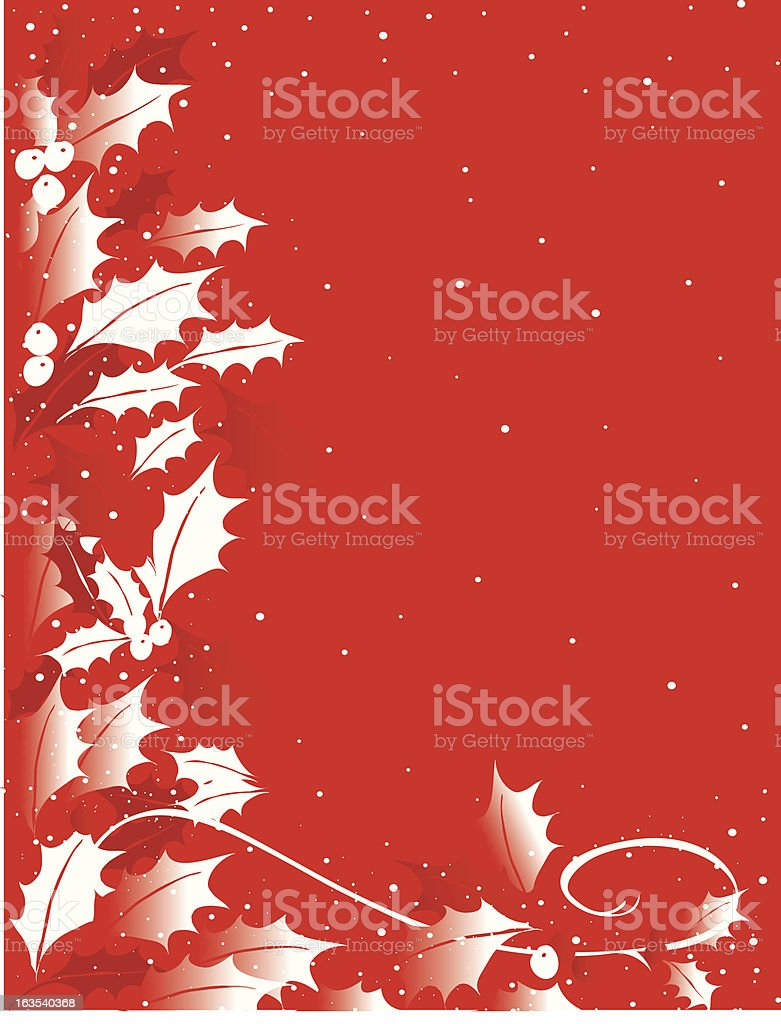 HOlly on Red royalty-free stock vector art