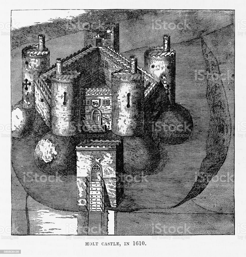 Holt Castle in 1610, Holt, Wales Victorian Engraving, Circa 1840 vector art illustration