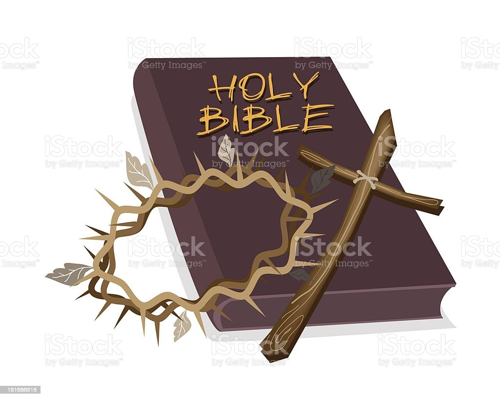 Holy Bible with Wooden Cross and Crown of Thorn royalty-free stock vector art