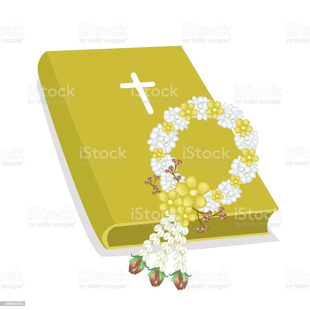 Holy Bible with Wooden Cross and Flower Garland vector art illustration