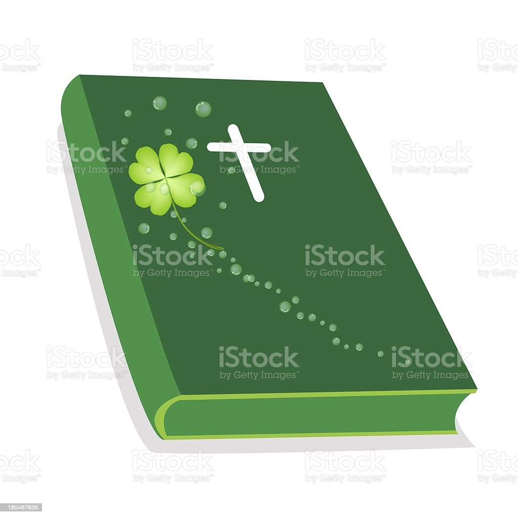 Holy Bible with Wooden Cross and Shamrock vector art illustration