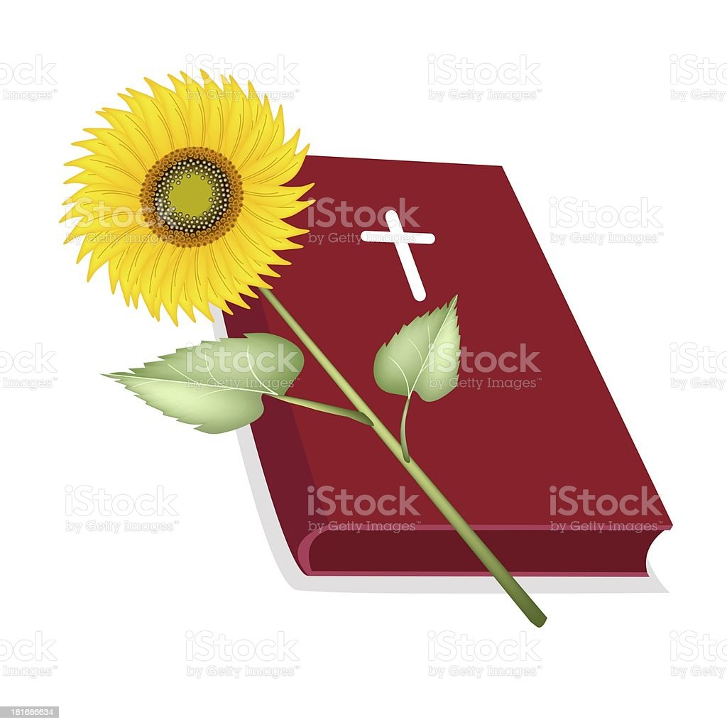 Holy Bible with Wooden Cross and Sunflower vector art illustration