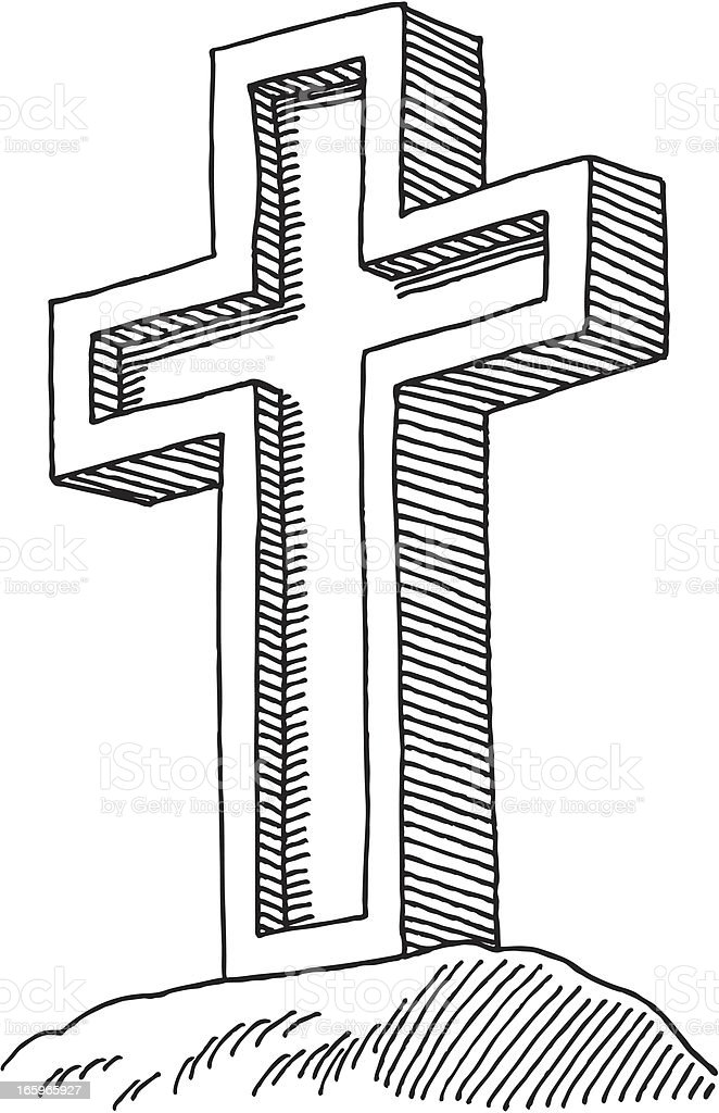 Holy Cross Drawing royalty-free stock vector art