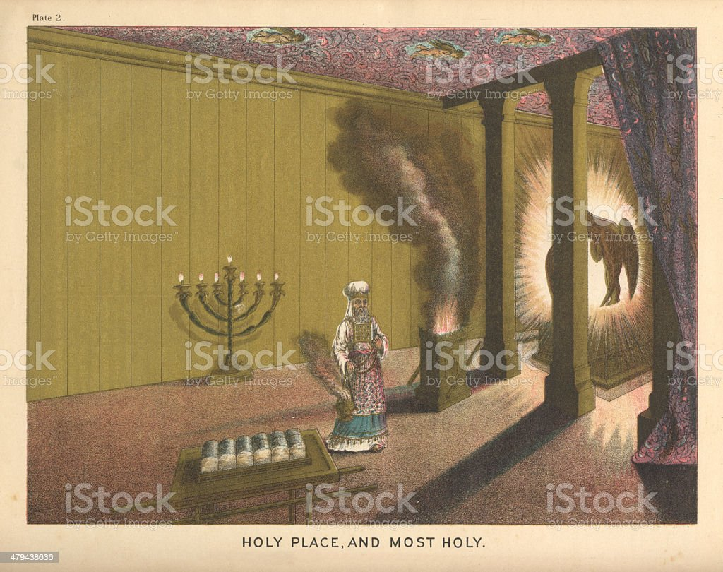 Holy Place and Most Holy Biblical Engraving vector art illustration