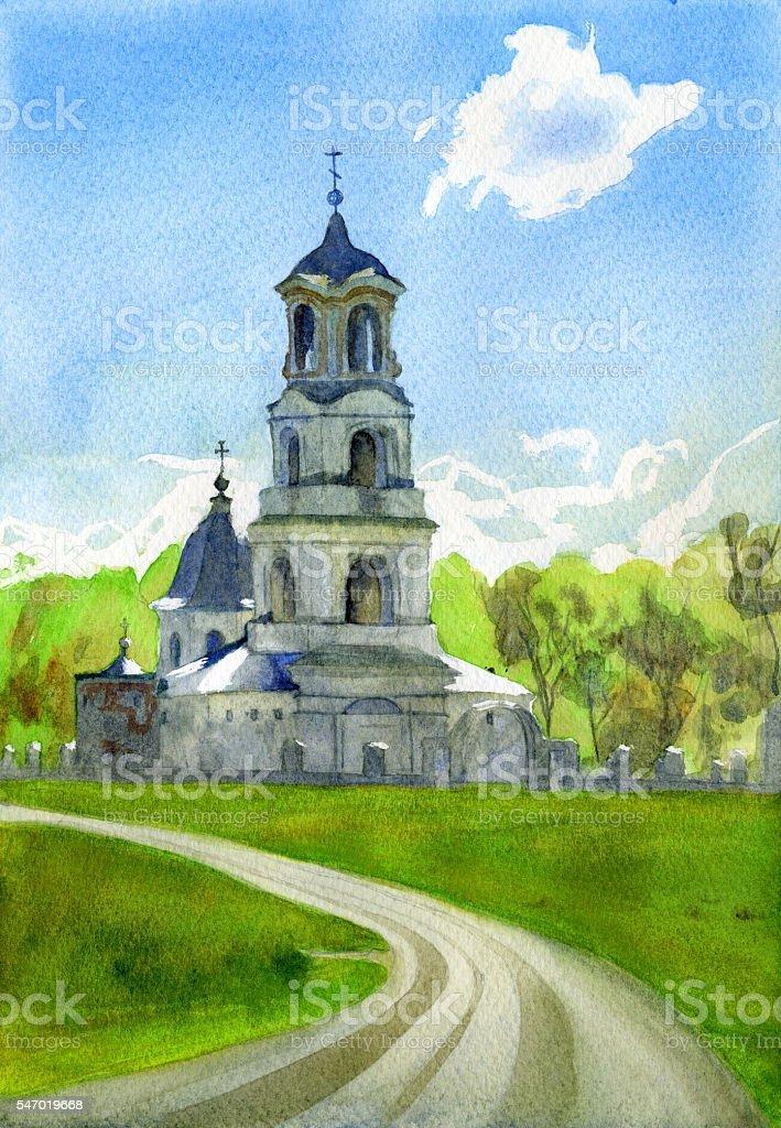 Holy Trinity Church, manor Troitse-lobanovo, Moskow region, Russia vector art illustration
