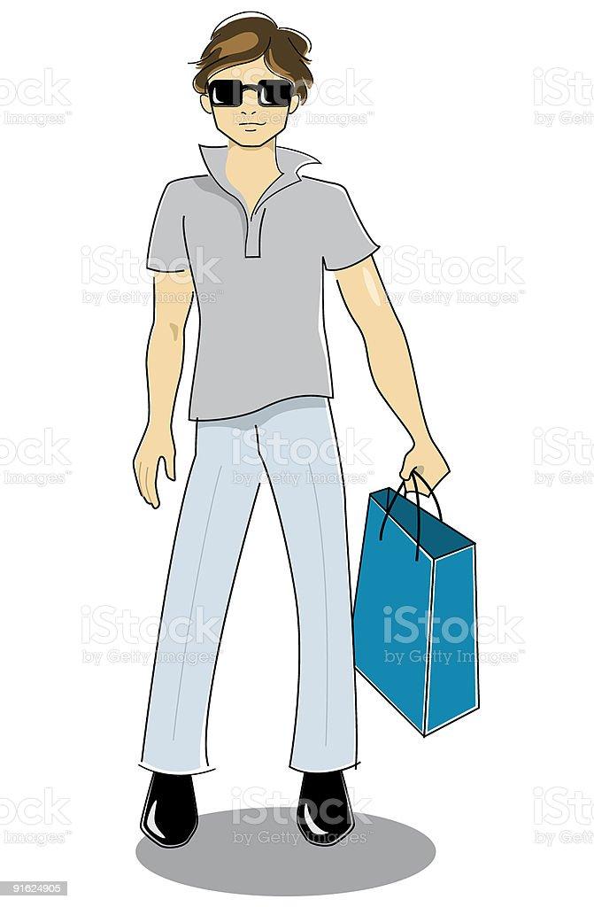 Hombre de compras royalty-free stock vector art