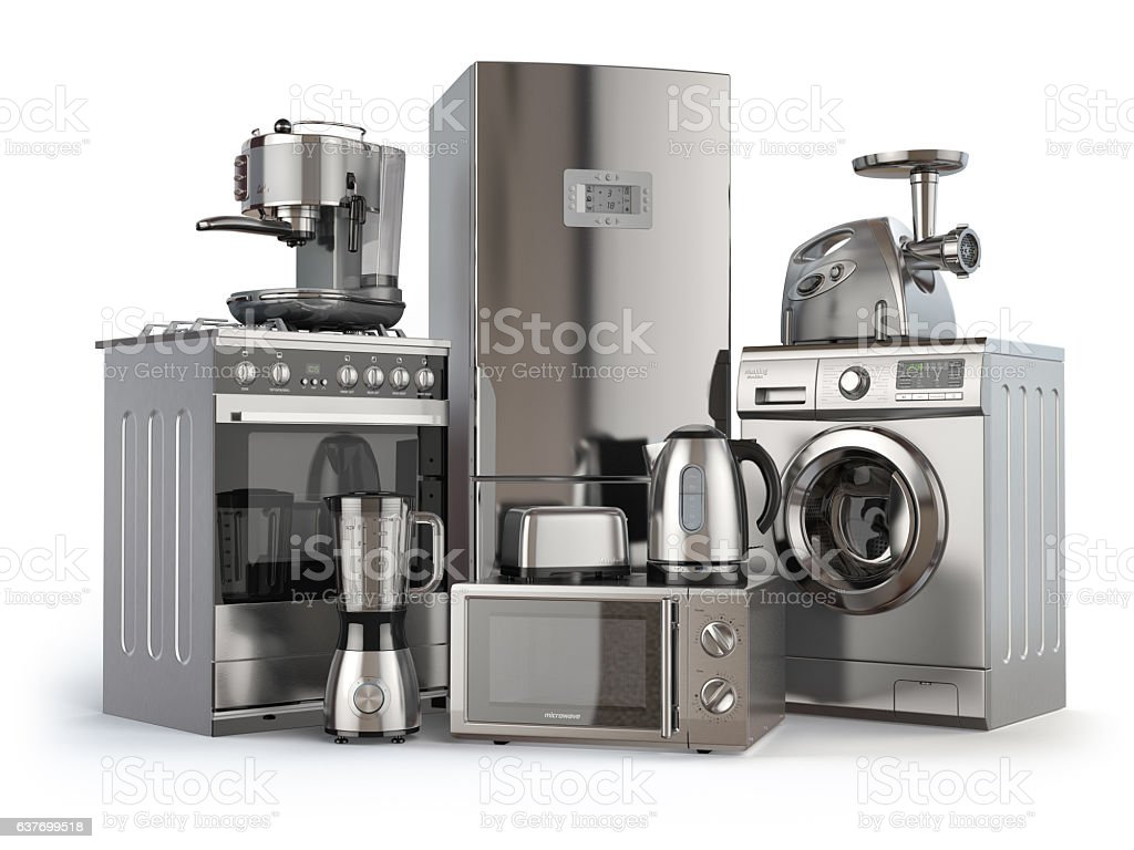 Home appliances. Gas cooker, refrigerator,  microwave and  washi vector art illustration