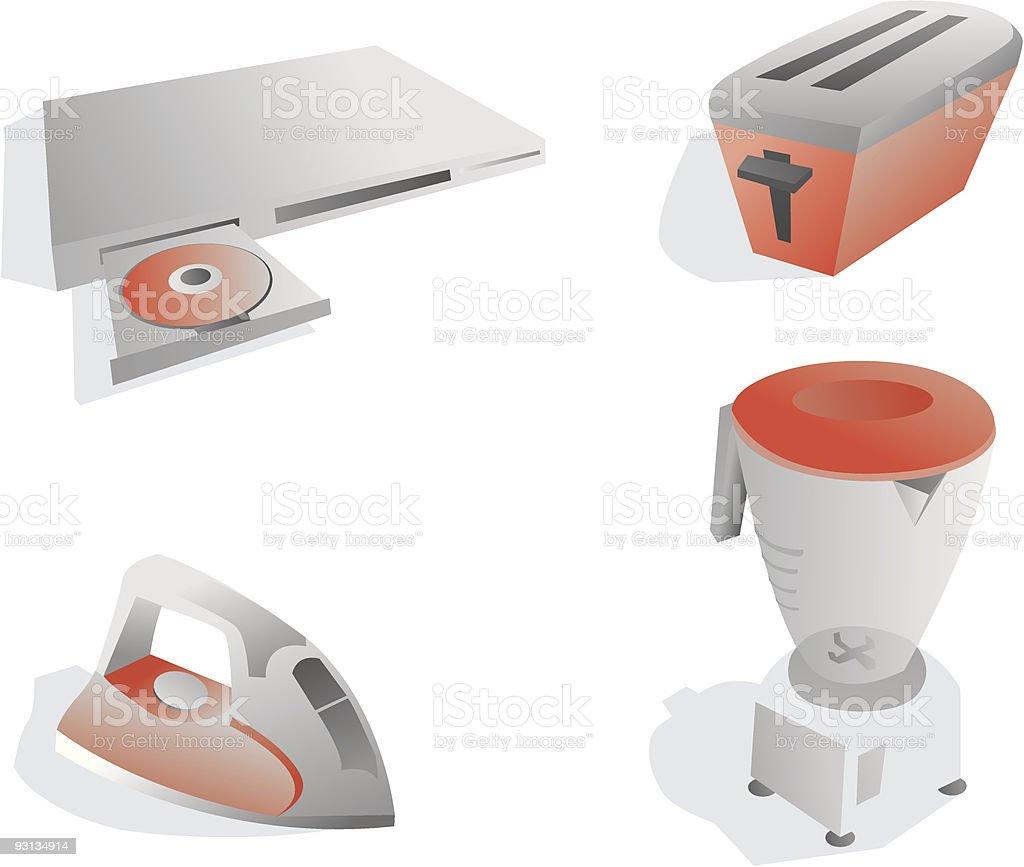 Home appliances vector art illustration