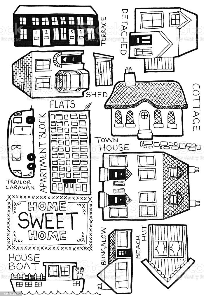 Home doodles vector art illustration