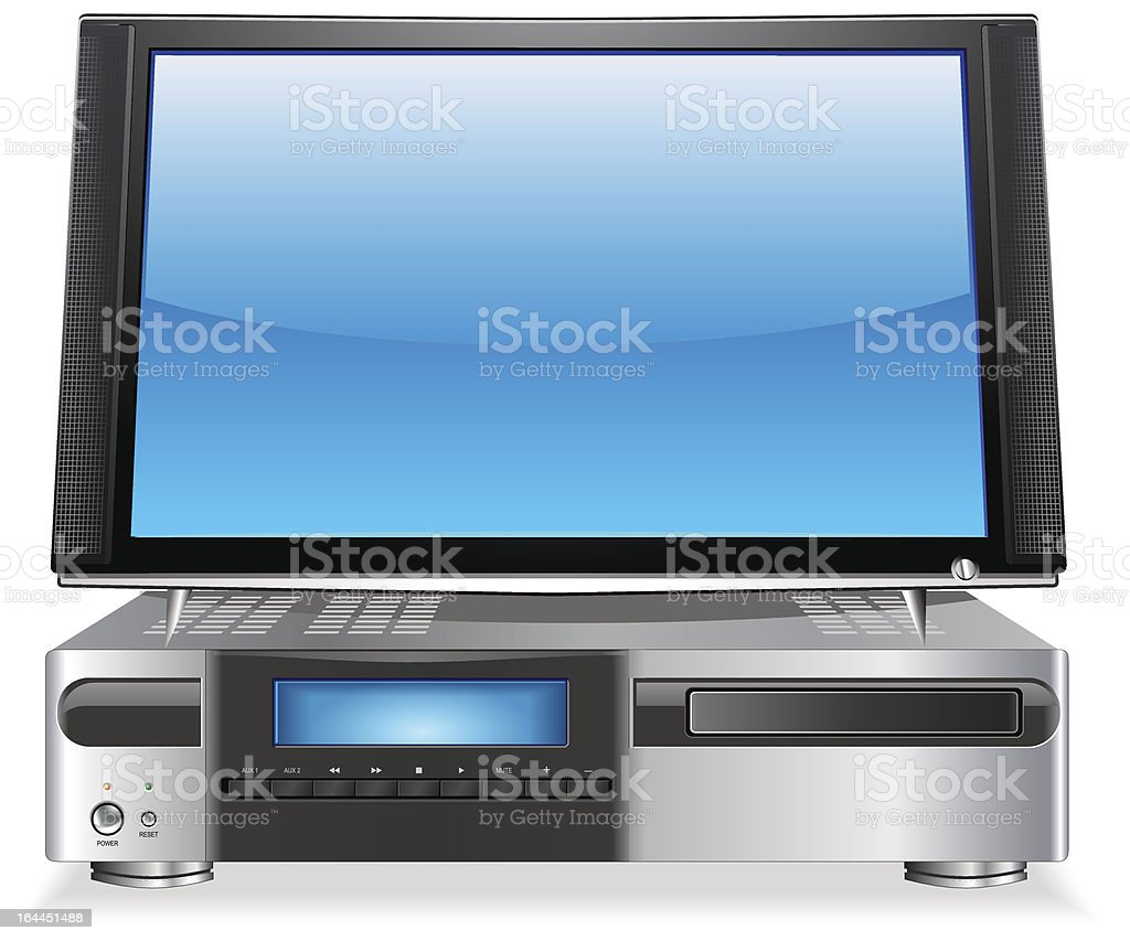 Home Media Personal Computer with Flat Screen LCD Display vector art illustration