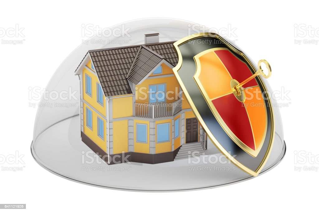 Home security and protection concept, house covered by glass dome. 3D rendering vector art illustration