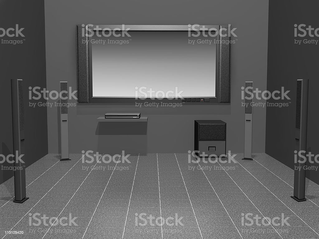 Home Theater Dark (Rendering) royalty-free stock vector art