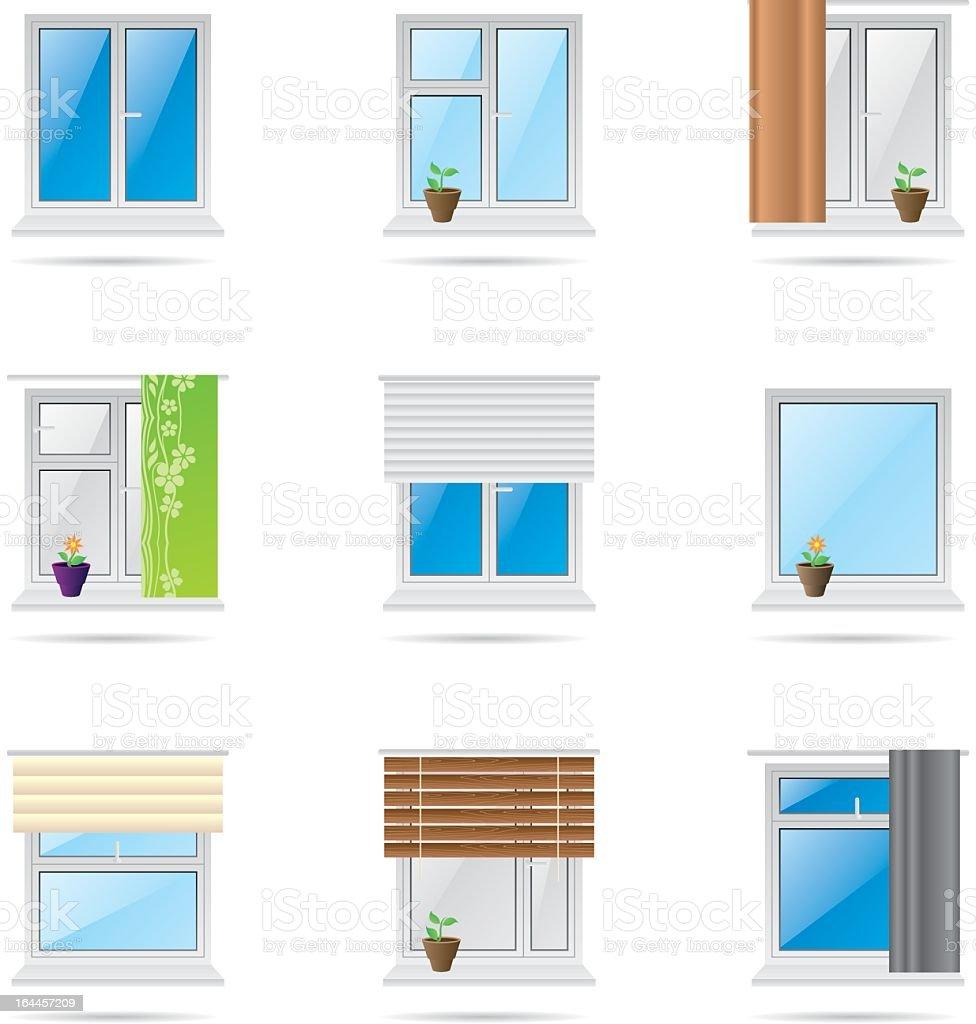 Home windows icons vector art illustration