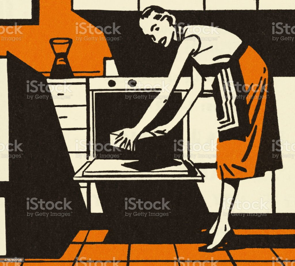 Homemaker Putting a Pan in the Oven vector art illustration