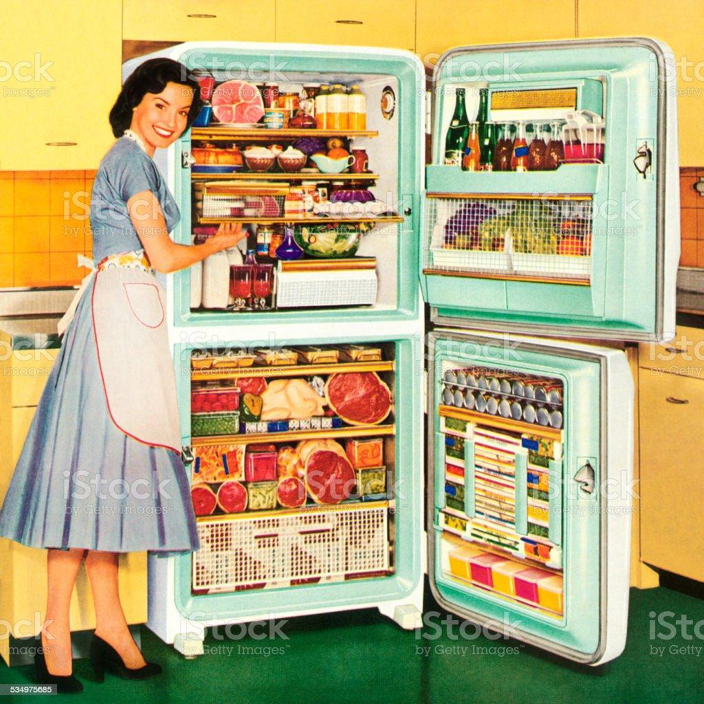 Homemaker Showing a Full Refrigerator vector art illustration