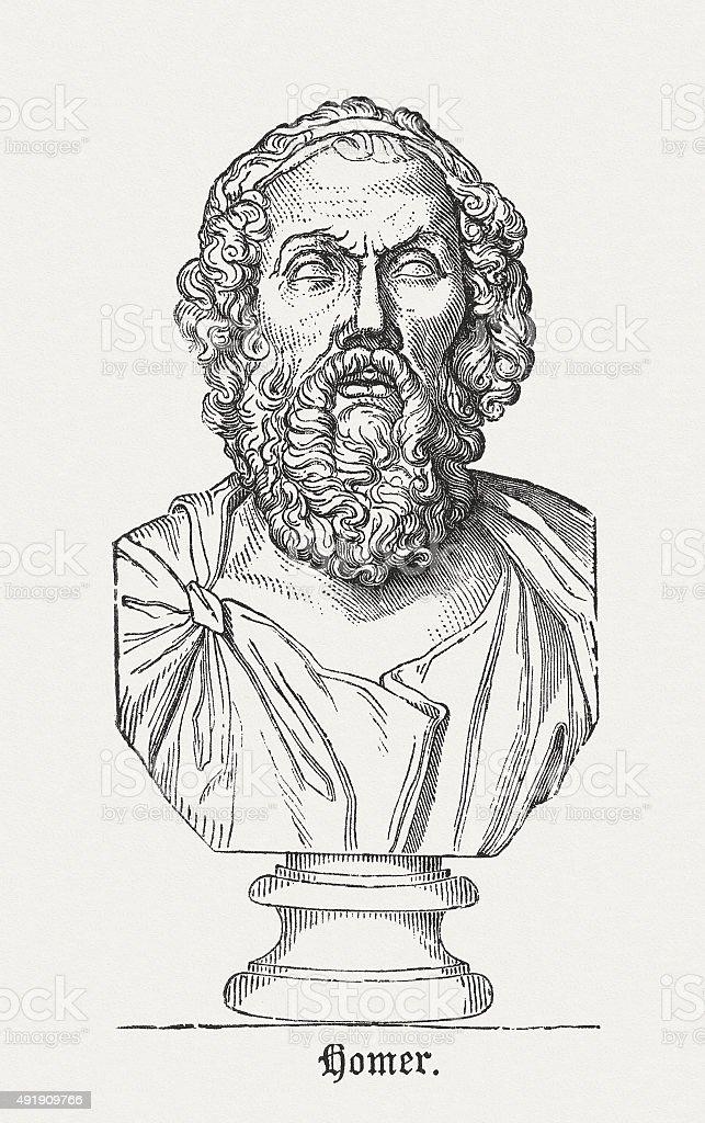Homer- Ancient Greek poet, published in 1878 vector art illustration
