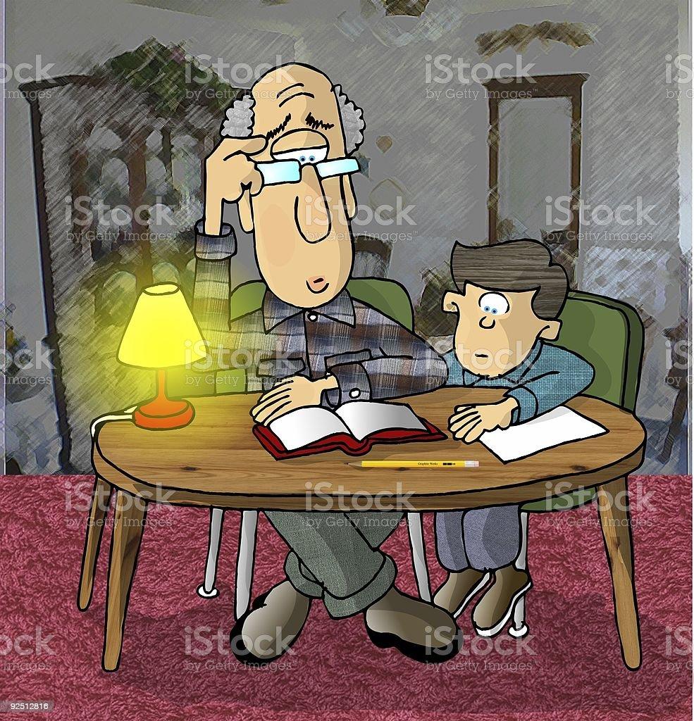 Homework with Grandpa vector art illustration