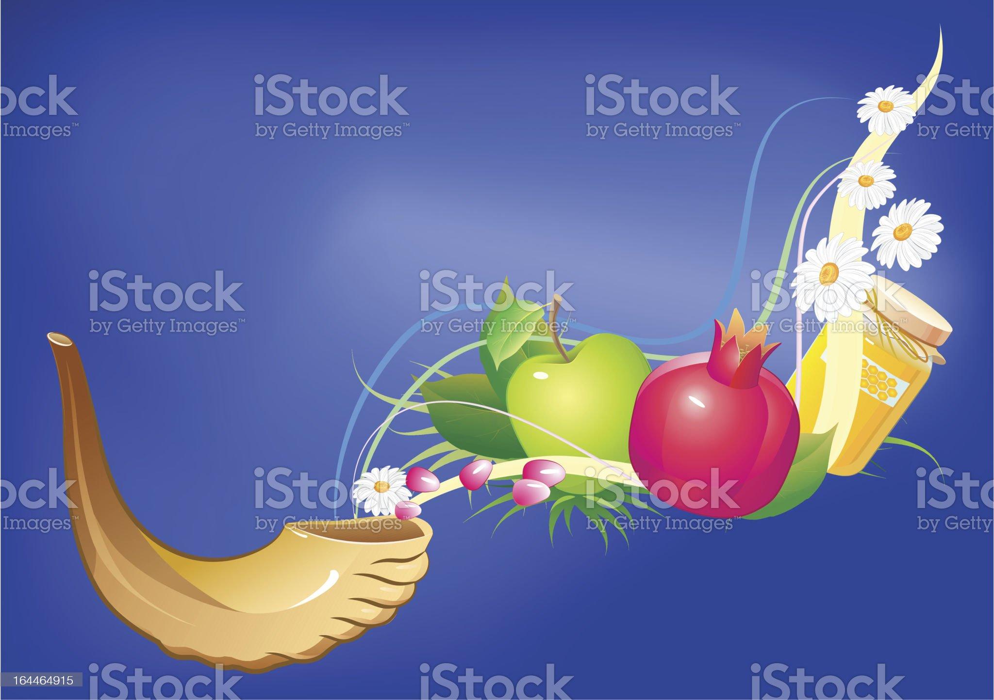 honey, apple, pomegranate and horn royalty-free stock vector art