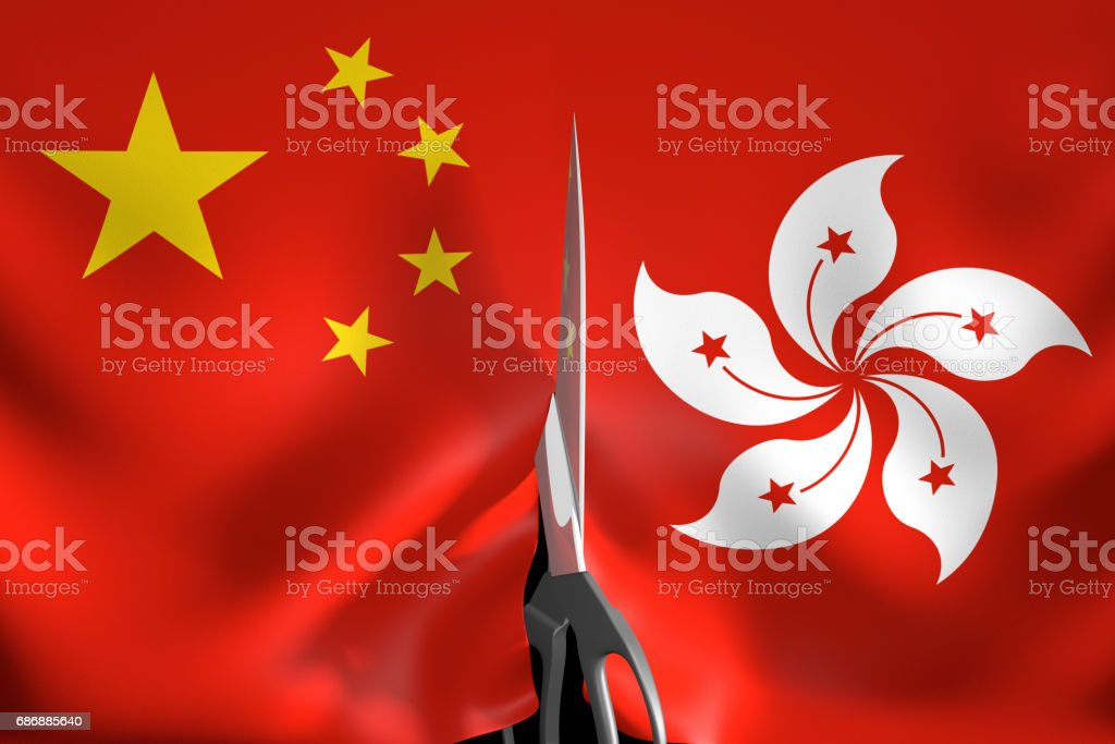 Hong Kong independence and secession from One China policy concept, 3D rendering vector art illustration