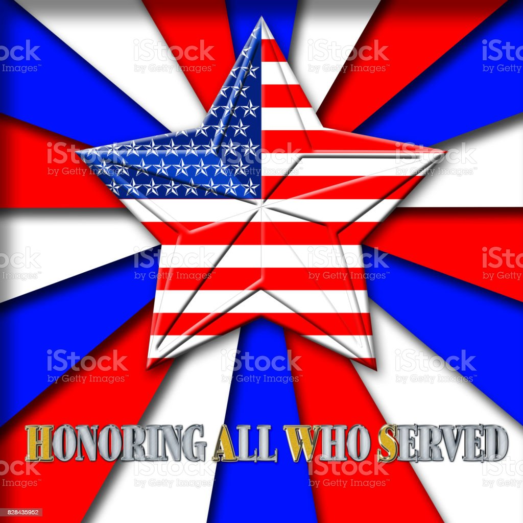 3D, Honoring all who served, bright rays of light in red, white and blue, star with the American flag. vector art illustration