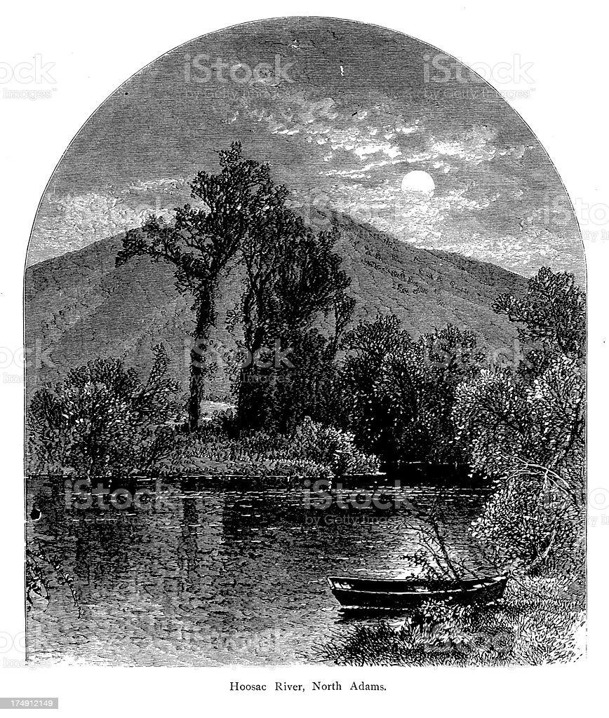 Hoosic River, North Adams, Massachusetts royalty-free stock vector art