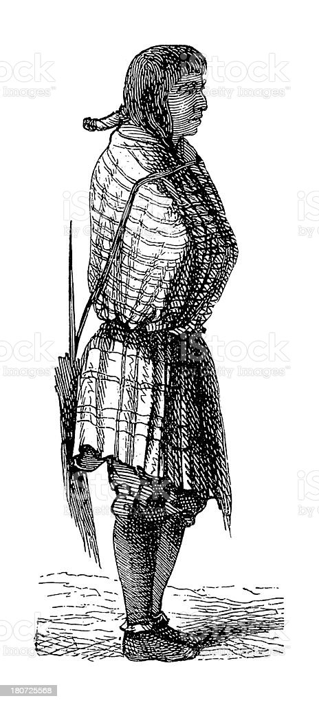 Hopi woman, North America (antique wood engraving) vector art illustration