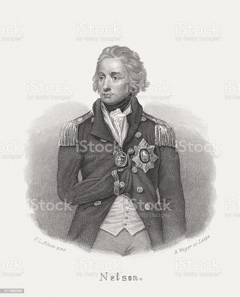 Horatio Nelson (1758-1805), British Admiral, steel engraving, published in 1868 vector art illustration