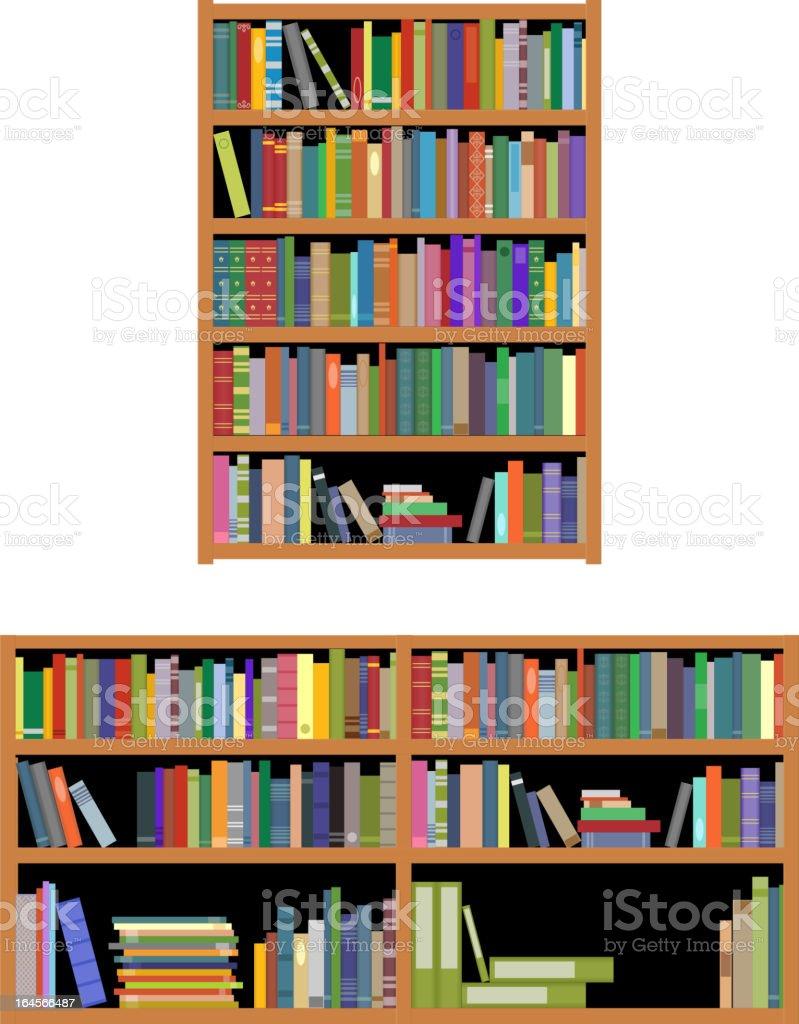 horizontal y vertical estantera de libros libre de derechos libre de derechos