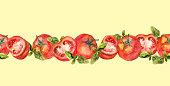 Horizontal repeated yellow border ribbon with tomato and basil