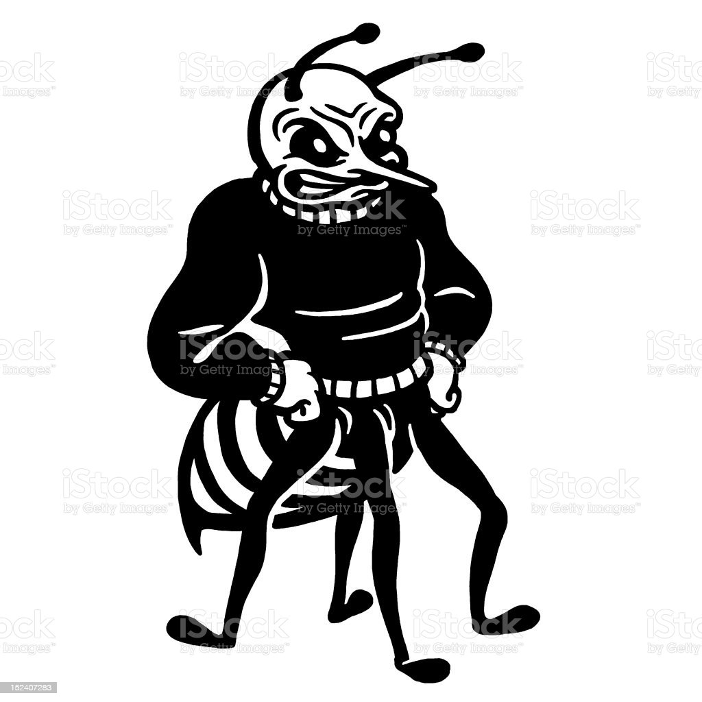 Hornet Wearing Sweater royalty-free stock vector art