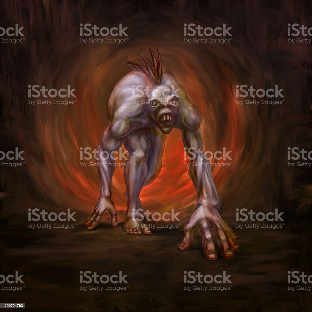 Horrible mutated monster in a cave vector art illustration