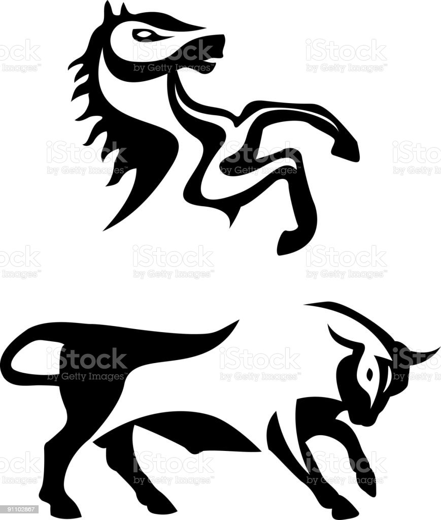 Horse and bull royalty-free stock vector art