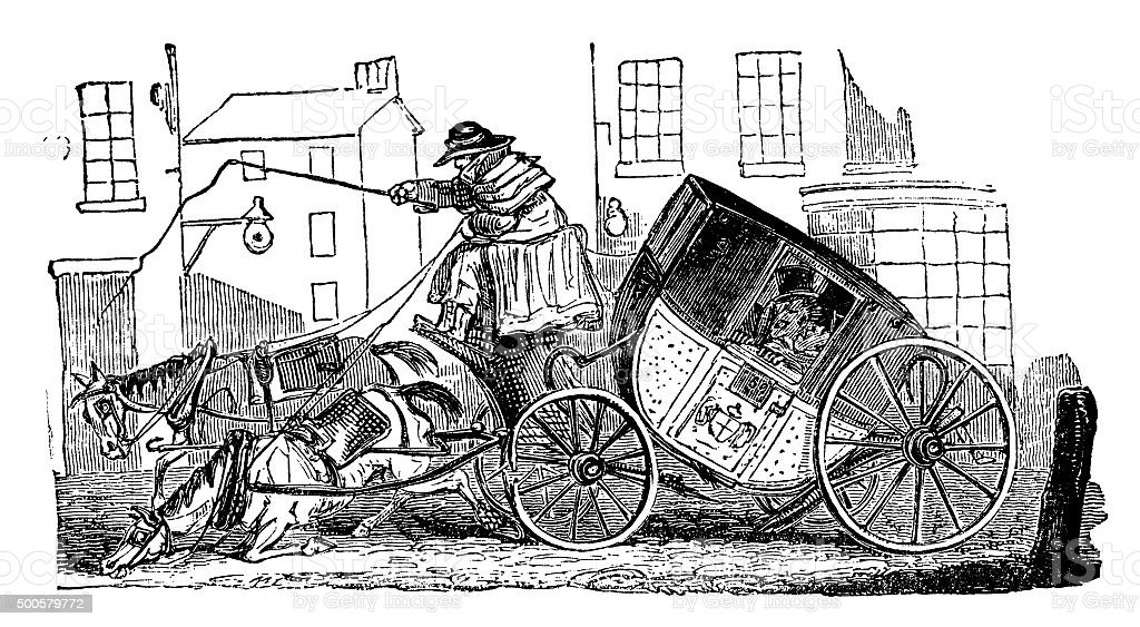Horse and carriage upset - Victorian engraving, 1865 vector art illustration