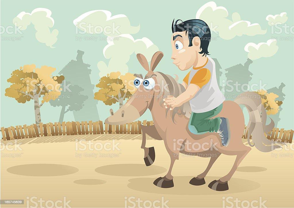 Horse riding vector art illustration