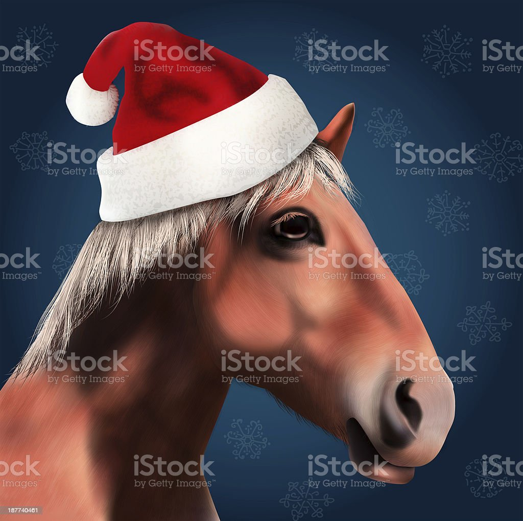 Horse with Santa Claus Hat vector art illustration