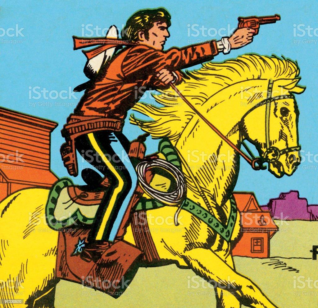 Horseback Cowboy Shooting Gun vector art illustration