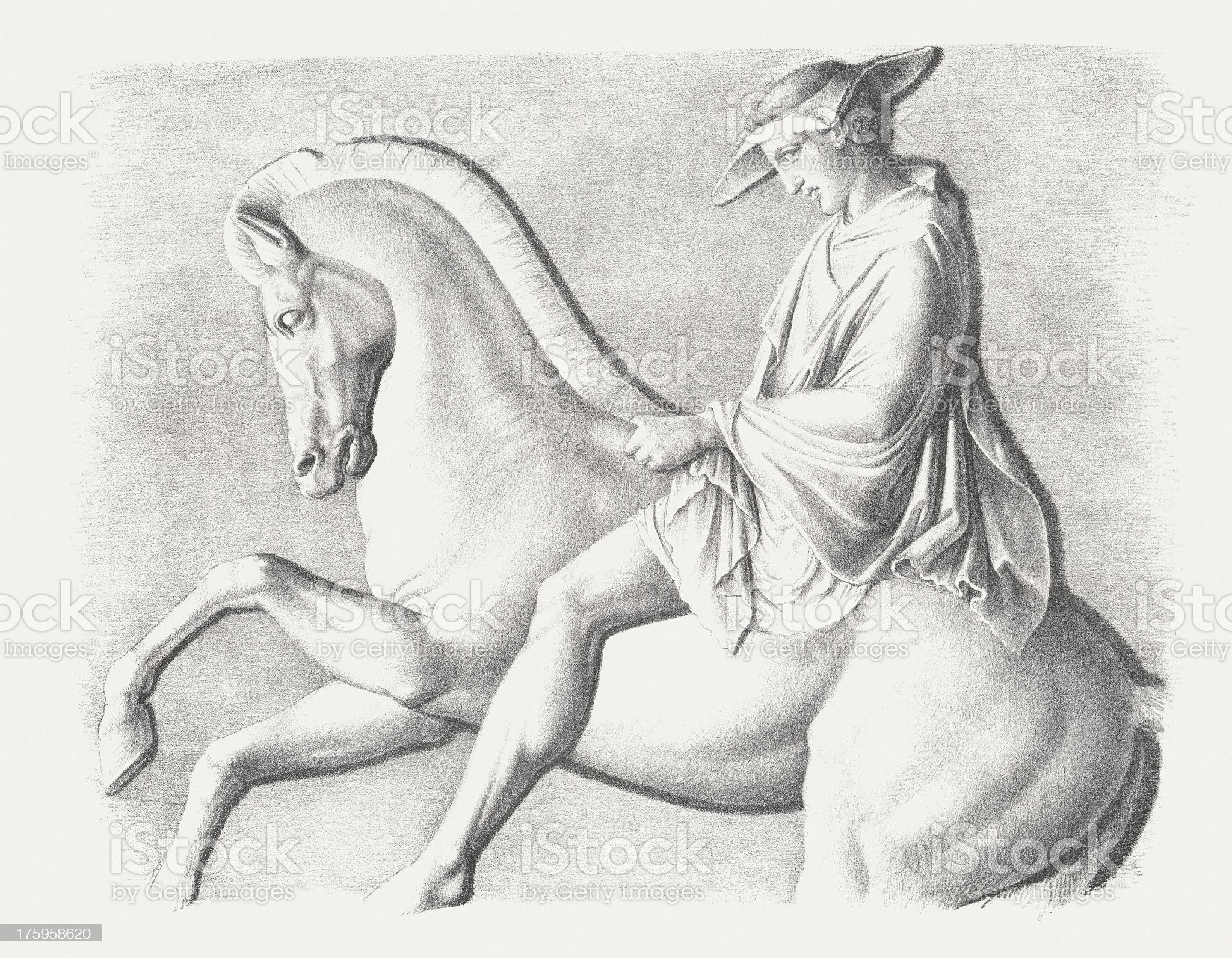 Horseman, detail from Parthenon-frieze, Acropolis, Athens, lithograph, published c.1830 royalty-free stock vector art