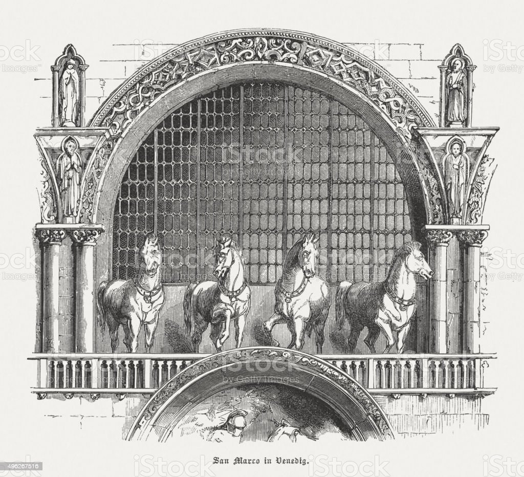 Horses of Saint Mark in Venice, Italy, published in 1881 vector art illustration
