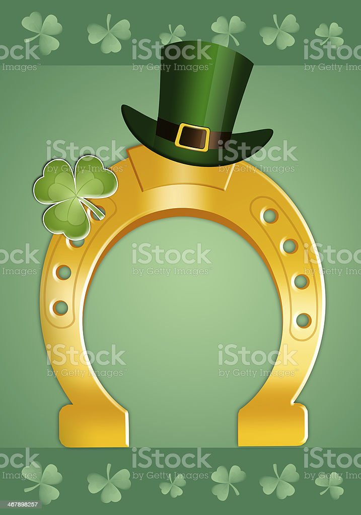 Horseshoe with clover for St. Patrick's Day royalty-free stock vector art
