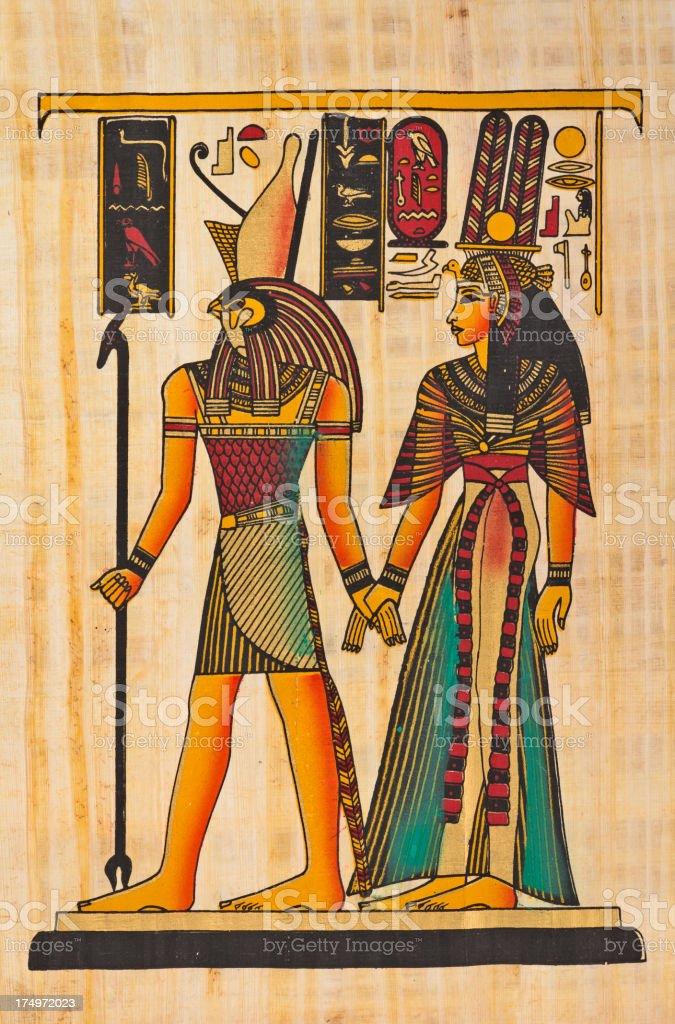 Horus and Nefertiti vector art illustration