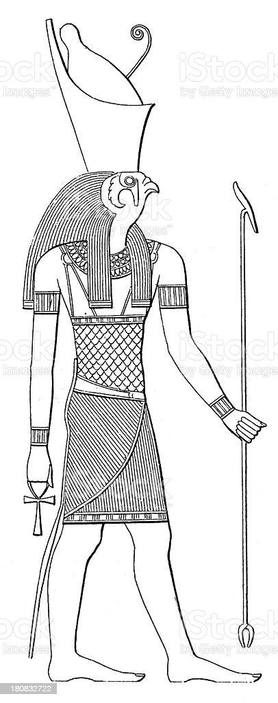 Horus (antique wood engraving) royalty-free stock vector art