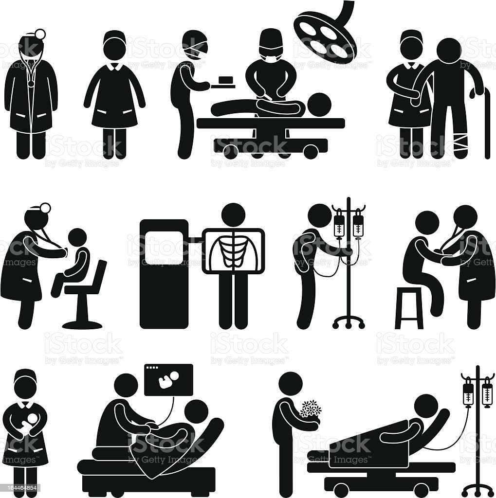 'Hospital Doctor, Nurse and Patient Pictogram' vector art illustration